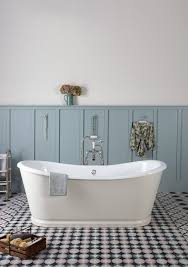 Contemporary Bathtub Wide Plank Paneling And Beadboard Bathroom Farmhouse With Blue And