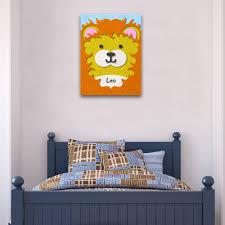 fuzzy felt kids name lion personalised wall art canvas fuzzy felt kids name lion personalised wall art