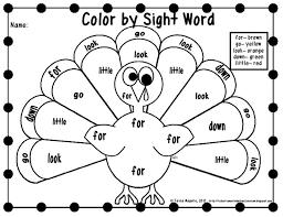 color sight word printables thanksgiving worksheets gekimoe u2022 25229