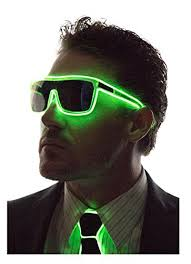 mens light tint sunglasses neon nightlife green frame tinted single lens tron style light up
