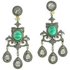 Chandelier Earrings India Indian Emerald Chandelier Earrings For Sale At 1stdibs