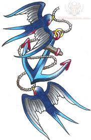 Barn Swallow Tattoo Designs Anchor Tattoo Designs Blue Swallows And Anchor Tattoo Design