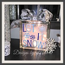 christmas let it snow lighted glass 8 inch block gr017