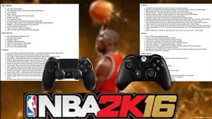nba 2k16 basic and advanced controls for ps4 and xboxone nba2kbox