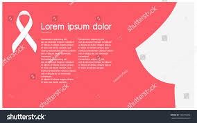 ribbon white light pink background breast stock vector 730376983