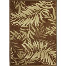 Lowes Outdoor Rugs Shop Palm Leaf Havanah Indoor Outdoor Nature Area Rug Common 5 X
