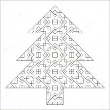children coloring book christmas tree made of geometric pattern