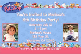 littlest pet shop photo invitations personalized party invites