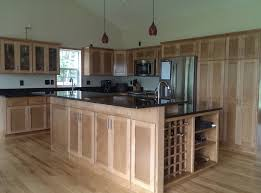 classy brown color wooden kitchen island with wine rack with