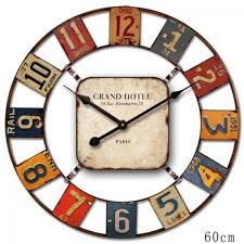 Decorative Metal Wall Clocks Cafe Home Decor Large 60cm Vintage Industrial Rustic Colourful