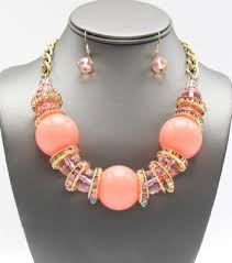 fashion necklace set images Beaded confetti fashion necklace set peach jpg