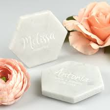 engraved wedding white marble coasters wedding placecard marble