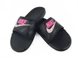 pink slides nike benassi sandals slides swarovski crystals black