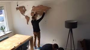 Wooden World Map Wall Art by Installation Mapawall Wooden World Map Youtube