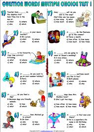 question words multiple choice test esl worksheet esl printable