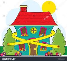 cute little house cute little house tape measure around stock vector 30071995