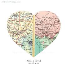 wedding gift map heart map print personalized wedding gift for with