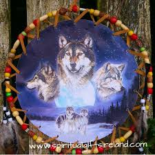 wolf dreamcatcher large 3 ring moon