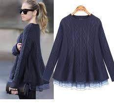 2016 new organza women sweater women dresses twinset female navy