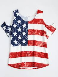 Saipan Flag 2018 American Flag Print Cold Shoulder Patriotic T Shirt Colormix