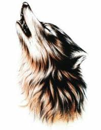 tribal howling wolf head black on white polyvore art