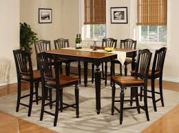 country stylish dining room with dark finish natural wood top