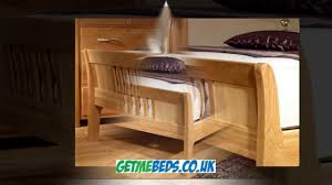 wood sleigh bed oak finish luxury bed frame youtube
