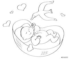 culle da neonato neonato nella culla da colorare wall sticker wall stickers
