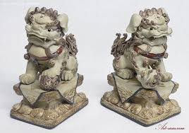 fu dog bookends feng shui fu foo dog ceramic statue large heavy sam