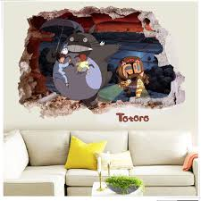decorative cool totoro wall sticker removable adhesive cartoon