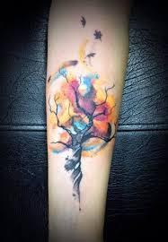 tree fetus watercolour tattoos
