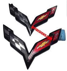 2014 corvette stingray emblem c7 corvette painted cross flags emblems rpidesigns com
