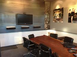 glamorous meeting room design ideas featuring cool polished chrome