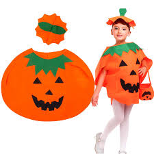 kids pumpkin costume halloween unisex fancy dress up party orange