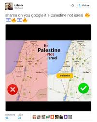 palestine missing from google maps twitter responds with