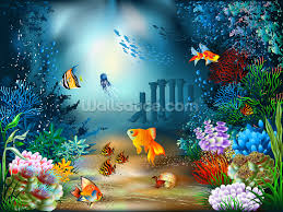 childrens wallpaper wall murals wallsauce underwater world wall mural
