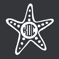 monogram car decal starfish monogram car decal