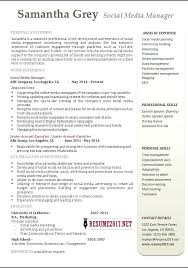 social media manager resume version social media manager