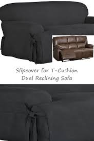 Reclining Sofa Slipcover Dual Reclining T Cushion Sofa Slipcover Suede Black For 3 Seater