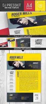 Musicians Resume Template Dj Musician Onepage Press Kit Resume Template