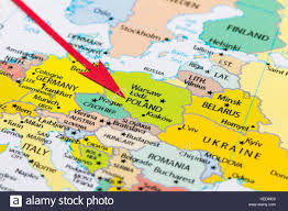 Map Poland Red Arrow Pointing Poland On The Map Of Europe Continent Stock