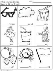 initial consonant blends worksheets