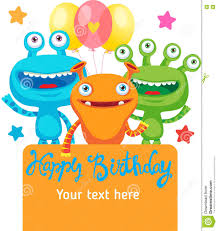 Birthday Party Invitation Card Design Small Alien Creature Monster Party Invitation Card Design With