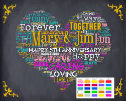 5th year wedding anniversary personalized 5th anniversary gift 5th anniversary chalkboard fifth