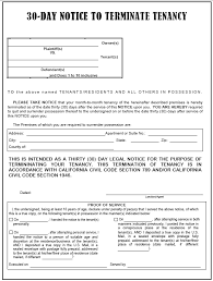 california 30 day notice to terminate tenancy evictme org