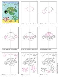how to draw a sea turtle art projects for kids