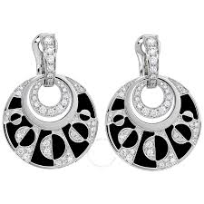 black earrings bvlgari intarsio 18k white gold black onyx diamond earrings 348725