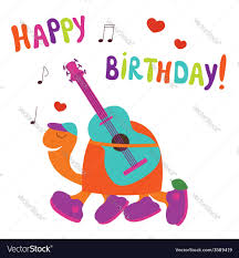happy birthday card with turtle guitarist vector image
