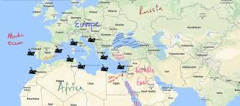 map world seas countries and trade routes near mediterranean sea