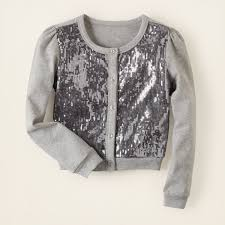 silver cardigan sweater sweaters sequin jersey cardigan children s clothing
